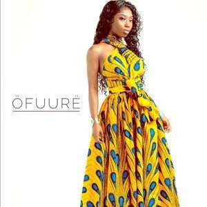 African Yellow Bulb Maxi Infinity Dress